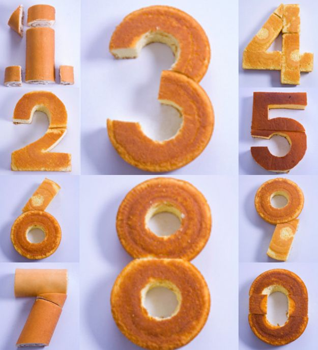 How to make any number out of cake without special cake tins / pans. With instructions for cutting and using either purchased, pre-baked, or home-baked cake, made in basic shapes.