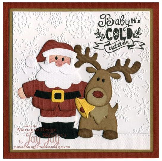 Marianne Design Collectables Santa (COL1391), Collectables Rentier (COL1369), Clear Stamps Eline's Handlettering Christmas (EC0156), Design Folder Ice Crystals (FD3420)