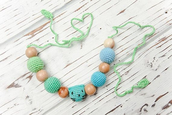 Busy baby montessori toy  Crochet wooden nursing bracelet