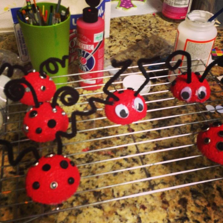 Easy kid craft ladybug magnets styrofoam balls cut in for Crafts with styrofoam balls for kids