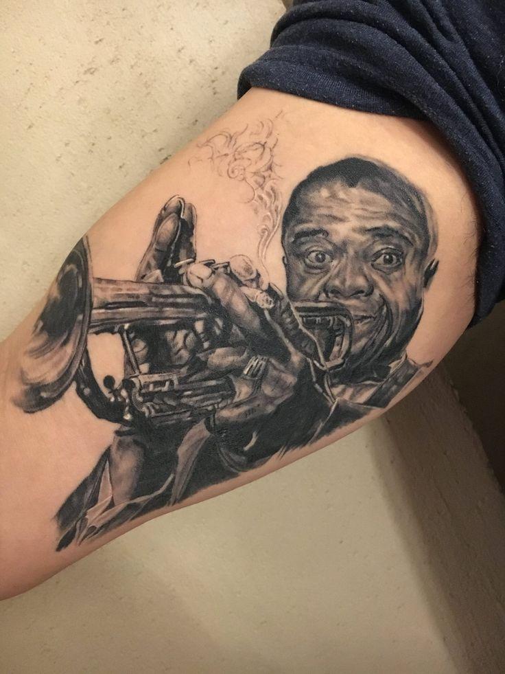 Louis Armstrong potrait tattoo by Febianto Eskelinen @ La Muerte Ink