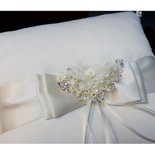 Ringkissen 20 x 20 cm mit Perlen-Kristall Elementen