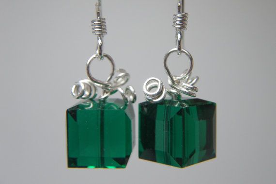 TODAY IS A GIFT Christmas Jewelry - Holiday Earrings - Green Swarovski Crystal Earrings - Christmas Present - Xmas Jewelry - Sterling Silver...