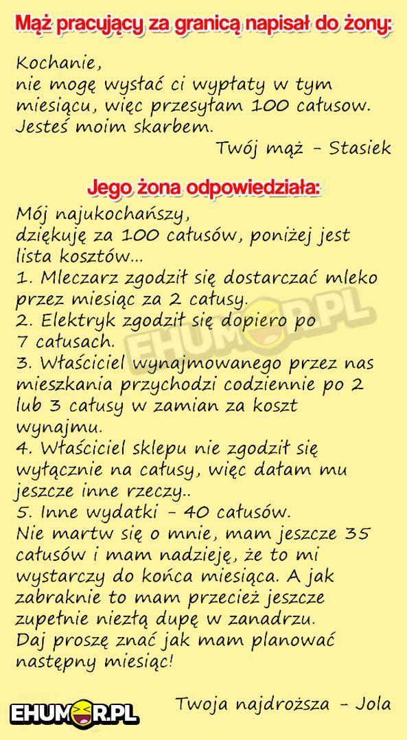 ODPOWIEDŹ ŻONY WYGRYWA WSZYSTKO HAHAH! :D – eHumor.pl – Humor, Zabawne zdjęcia, fotki, filmiki, dowcipy, top 10, demotywatory