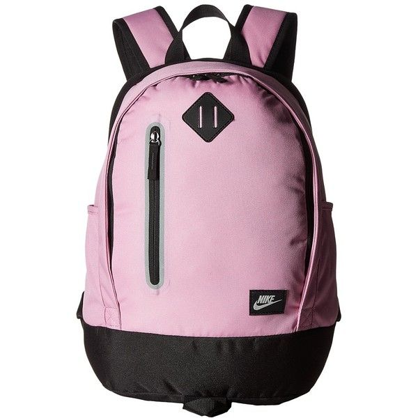 Nike Young Athletes Cheyenne Solid Backpack (Orchid/Black/Matte... (110 BRL) ❤ liked on Polyvore featuring bags, backpacks, day pack backpack, handle bag, water resistant backpack, silver backpacks and nike backpacks