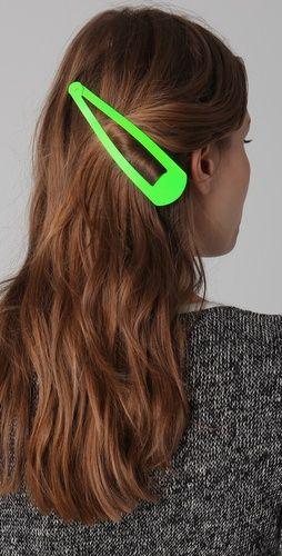 whoa....Adia Kibur Jumbo Neon Hair PinHair Pin, Hair Clips, Neon Green, Ridiculous Things, Funny Stuff, Big Hair, Hair Accessories, Neon Hair, Thick Hair