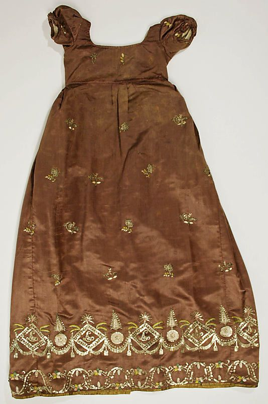 Dress    Date:      ca. 1810  Culture:      British  Medium:      silk  Dimensions:      Length at CB: 36 in. (91.4 cm)  Credit Line:      Purchase, Irene Lewisohn Bequest, 1974  Accession Number:      1974.101.3