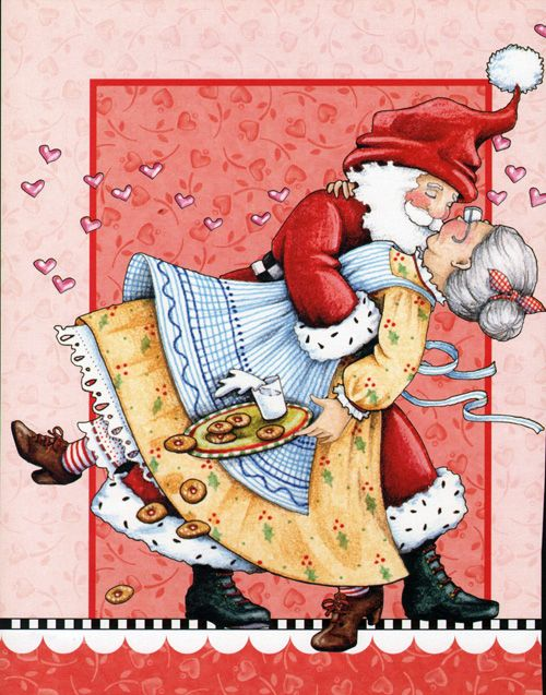 Santa kissing Mrs. Klaus / Mary Englebreit