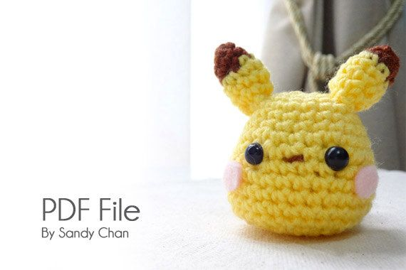 Amigurumi Pukachu PATTERN by HookSANDYarns on Etsy, $4.99 - make for self, keychain, base off of White Totoro Pattern possibly