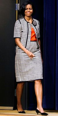 First Lady Michelle Obama wearing a suit by Narciso Rodriguez, March 2010.