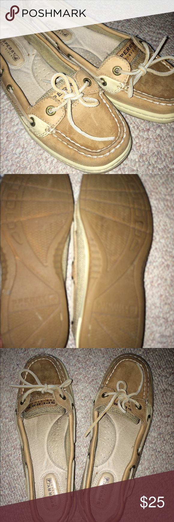 Women's Sperrys Women's Angelfish Linen/Oat Sperrys. Very trendy and classy. Good condition shoes with no rips or tears. Size 6 1/2 USA. Sperry Top-Sider Shoes Athletic Shoes