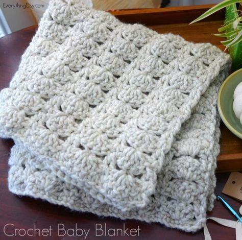 Whip up one of these quick and cozy crochet baby blankets. Working with this chunky yarn is fast. Skip to my Lou blog post.