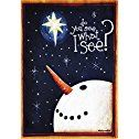 """Do You See What I See? Large Christmas Flag, Snowman & Star 28"""" X 40"""" For Winter Holiday Porch House Patio Garden Yard Office School Classroom Hotel Church Store Outdoor Banner Decorations, Etc."""