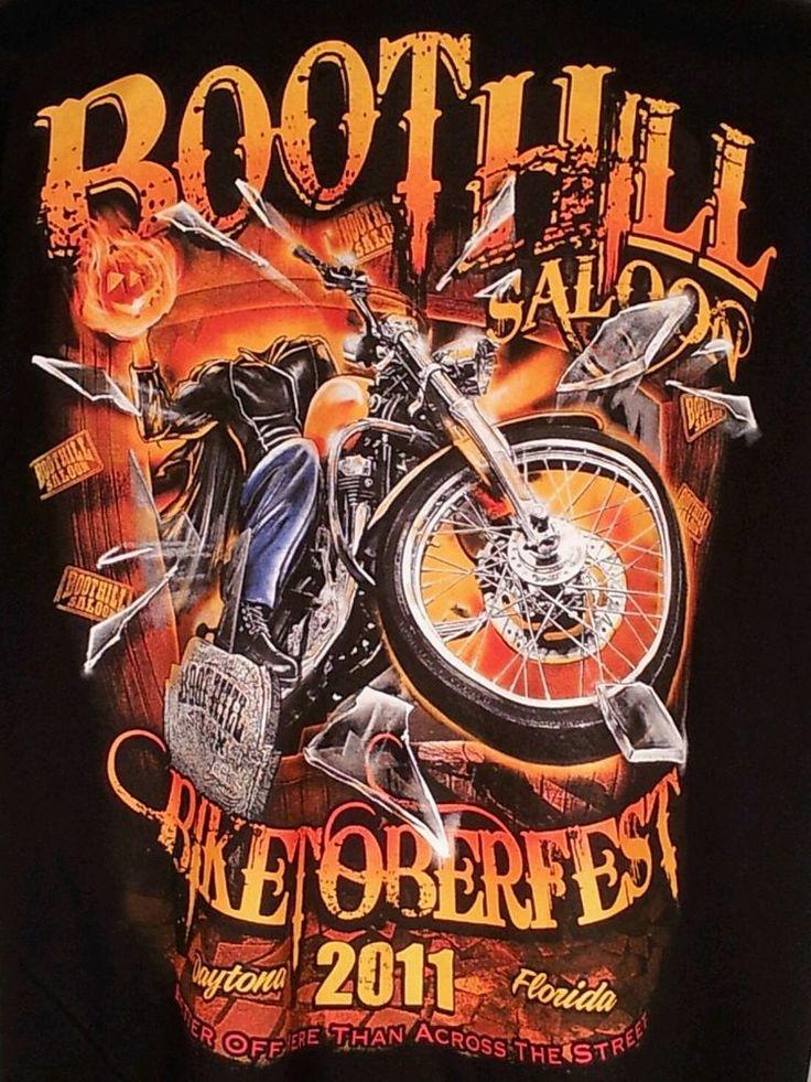 Boothill FLAMING Pumpkin Head Biketoberfest T Shirt Mens ...