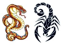 Scorpion & Cobra Glow In The Dark  (2 Tattoos)