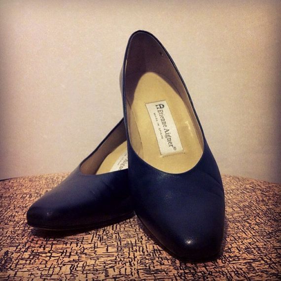 Vintage 80s 90s Etienne Aigner Navy Blue High by BeatificVintage, $25.00