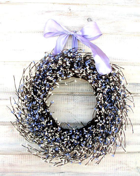 Wedding Wreath -Wedding Decor-PURPLE & ANTIQUE WHITE Wreath-Shabby Chic Wedding Decor-Lavender Wreath-Shabby Chic Wedding-Gift for Mom
