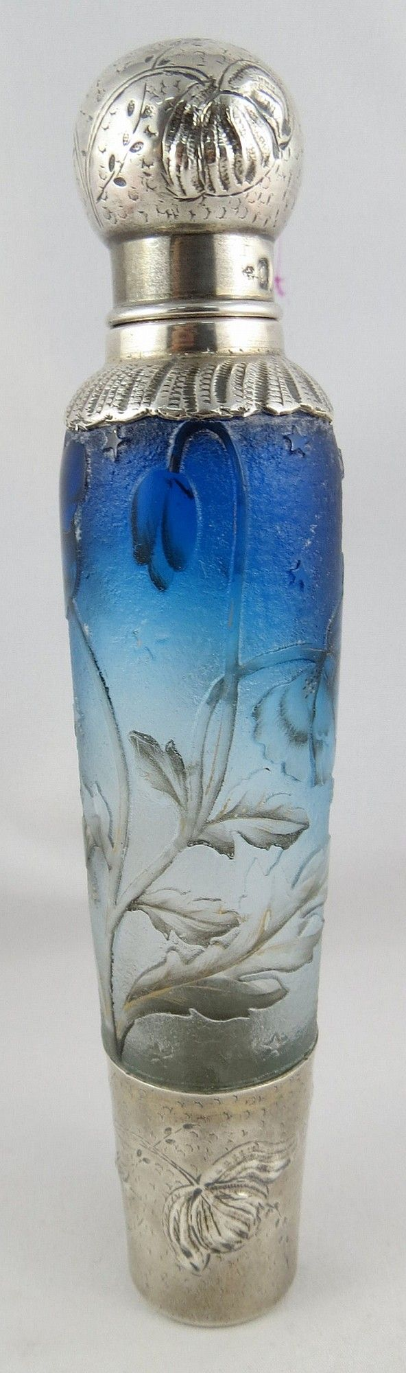 "Antique Art Nouveau Daum Nancy Sterling Silver And Cameo Glass Flask, Signed ""Daum"" - French"
