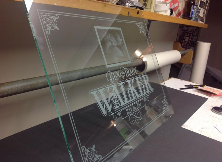 Custom Wedding Glass- sandblasted, sand carving and glass photo Wildwood Signs Hanover On Canada 519-364-1503