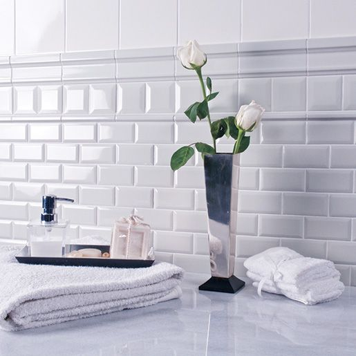 Ceramic White 3 X 6 Adex Hampton Crackle Beveled Wall