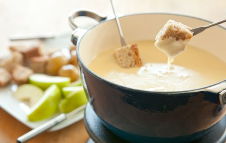 A very simple and delicious fondue starring the complex flavor of Le Gruyère. For an alcohol-free version, try substituting apple cider for wine.