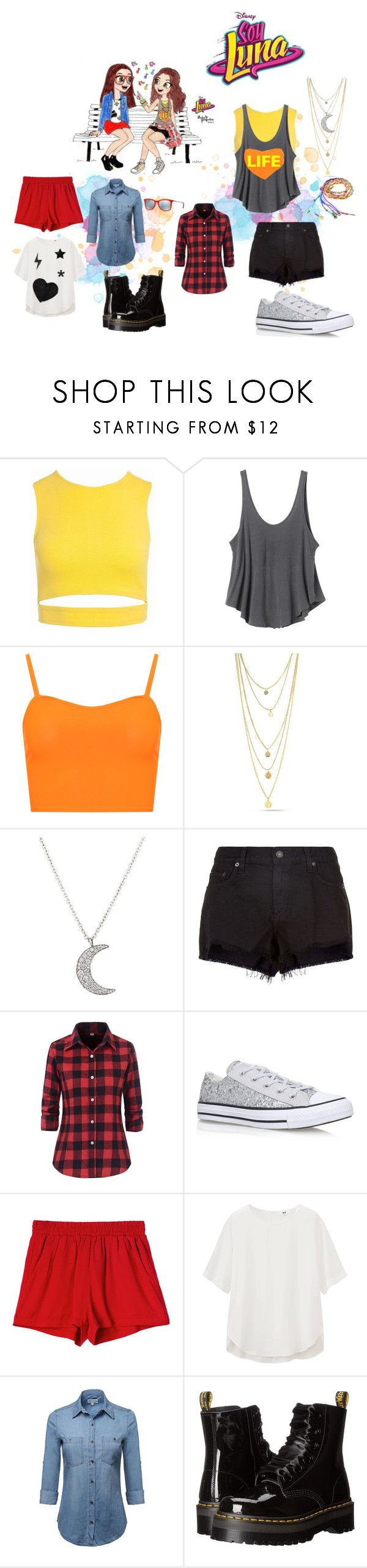 """""""soy luna"""" by maria-look on Polyvore featuring Sans Souci, RVCA, WearAll, Finn, rag & bone, Converse, Uniqlo, Dr. Martens and Ray-Ban"""