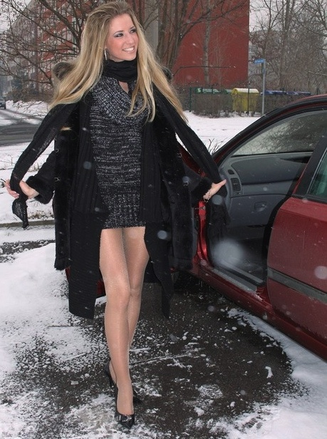 In pantyhose snow in girls the