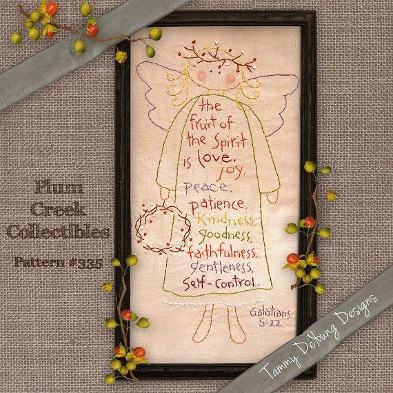 Bible Verse Embroidery Pattern Angel di PlumCreekPatterns su Etsy