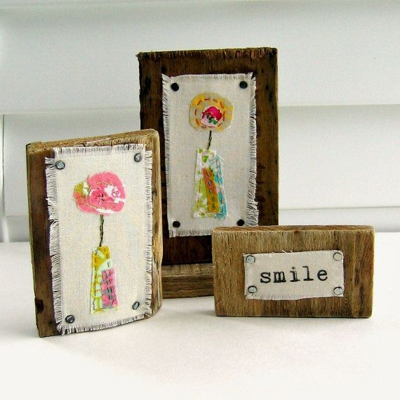 fiber, collage, textile art, appliqued flower art, fabric scrap stitched doodle art, reclaimed wood art. wood block art, smile art - No.100