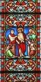 Glas in lood raam in St.Samson kathedraal, Dol-de-Bretagne, Frankrijk, afbeelding van een bijbelse scène: Pontius Pilatus met Jezus Christus in het arrest.