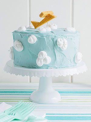 Awesome Airplane Birthday Party: Blue-Skies Cake (via FamilyFun Magazine)