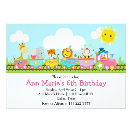 410 best zoo and safari animals birthday party invitations images animal circus train kids birthday in pink card stopboris Gallery