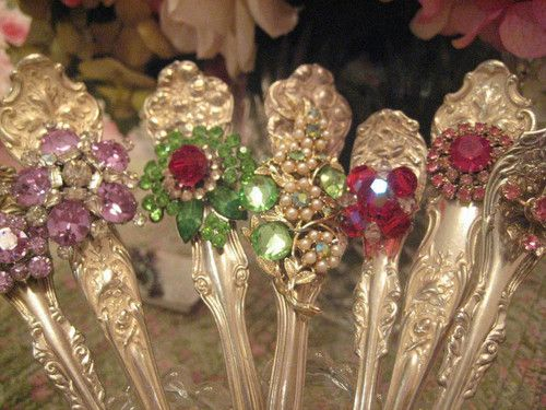 Bejeweled silver spoons