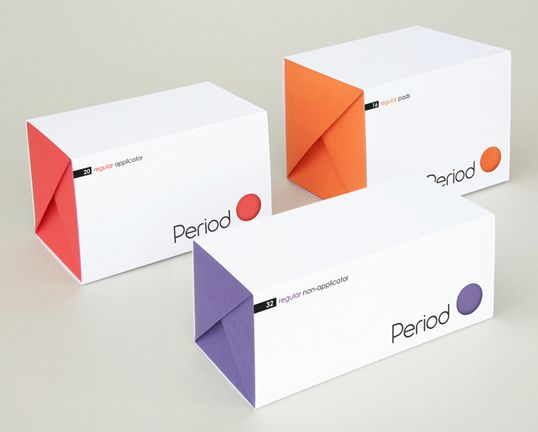 "Student Work – Designed by Kyle Tolley & Sarah Graves | Country: United Kingdom  ""The aim of the project was to rethink and re-brand the sanitary protection product category ('Sanpros'), namely sanitary towels and tampons. These products are mainly purchased by women and on occasion by men for women. The packaging should encourage the buyer to be confident of their purchase and not embarrassed. It should also be environmentally friendly and recyclable."""