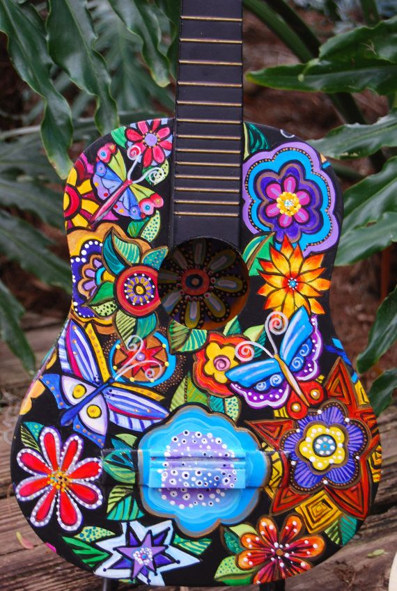 Hand Painted Acoustic Student  Sized Guitar by TheStudioBurke, $450.00
