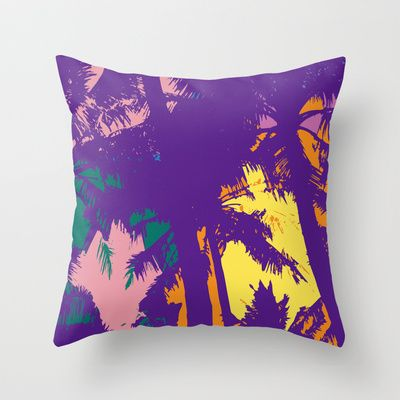 Palm tree_2 Throw Pillow by PINT GRAPHICS - $20.00
