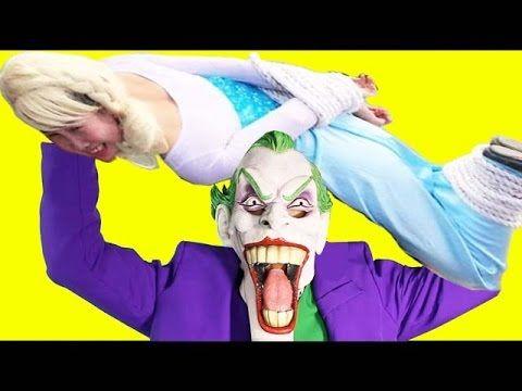 джокер и Женщина похищать объятие тела Замороженные Эльза Человек-паук в...