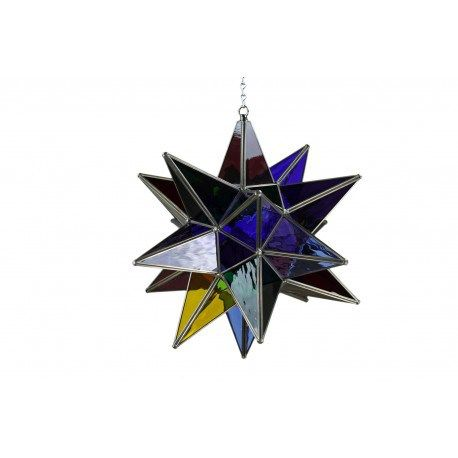 southwestern lighting :- Hanging Star with Colored Glass and the Tres Amigos Oxidized Finish. Order with or without UL rated parts. Light bulbs not included. Great for Indoor or Outdoor decoration. Also excellent when used in Restaurant Lighting Decorations or Hotel Lighting Decor.