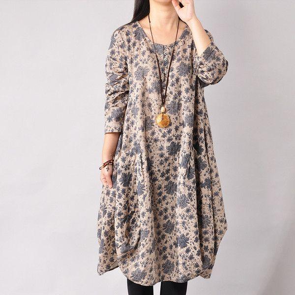 Print Cotton Long Sleeve Dresses - Buykud- 1