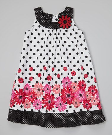 Look what I found on #zulily! White & Black Polka Dot Floral Swing Dress - Toddler #zulilyfinds