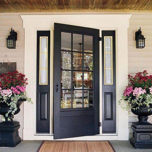 Door, Beautiful Flowers Decorating Idea With Black French Front Door: Embellish Your House with Fascinating Black Front Door Designs