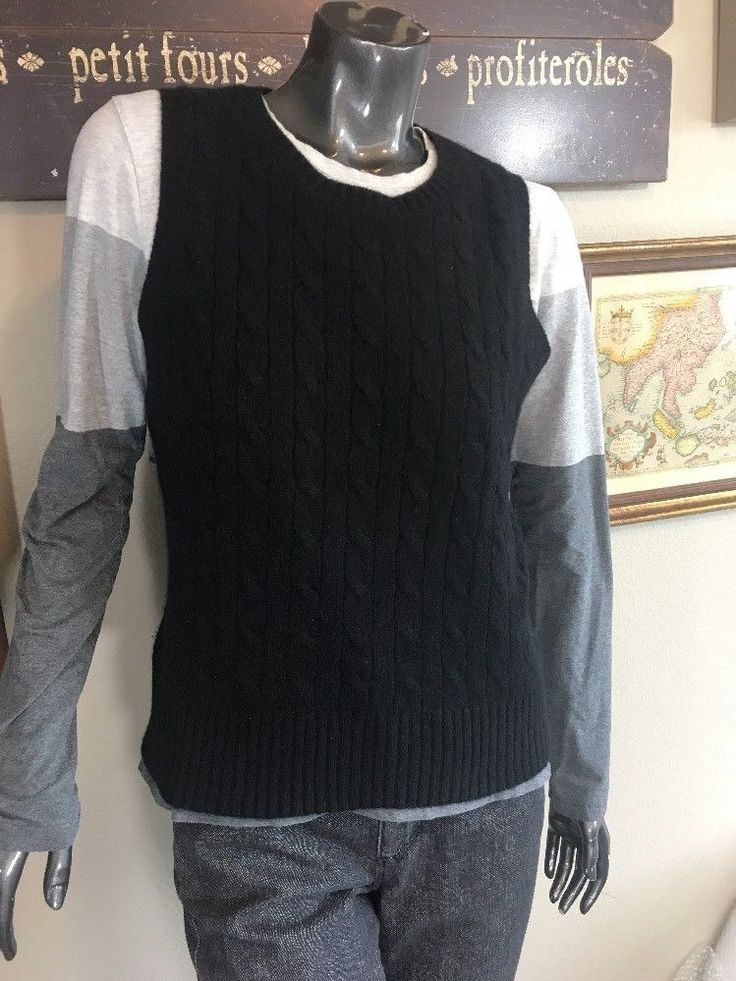 Lord & Taylor Black Cable Knit 2 Ply 100% Cashmere Ladies Vest Sz M  | eBay