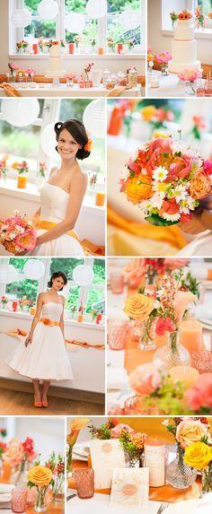 Apricot Wedding color scheme, apricot peach bridal shoot, orange Plants & Flowers; Bridal bouquet of Coral