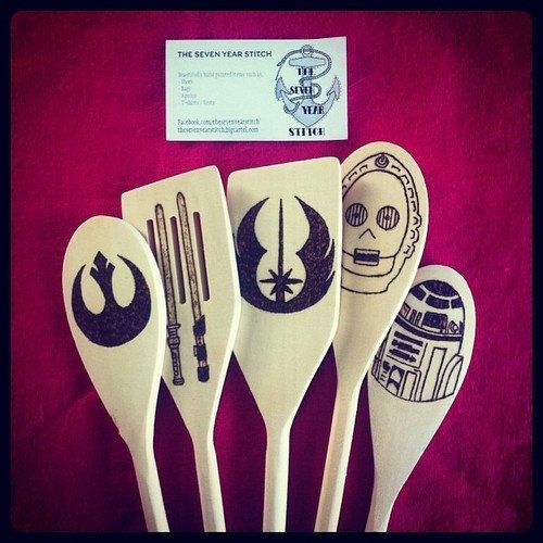 Star Wars 5 Piece Wooden Utensil Set on Etsy, $18.47 CAD