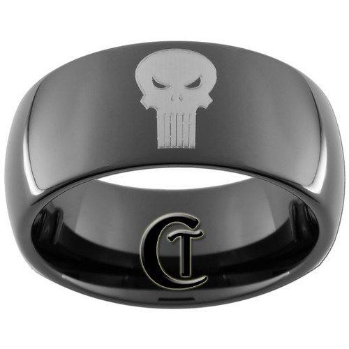 9mm Black Dome Tungsten Carbide Marvel Comics Punisher Design Ring Siz