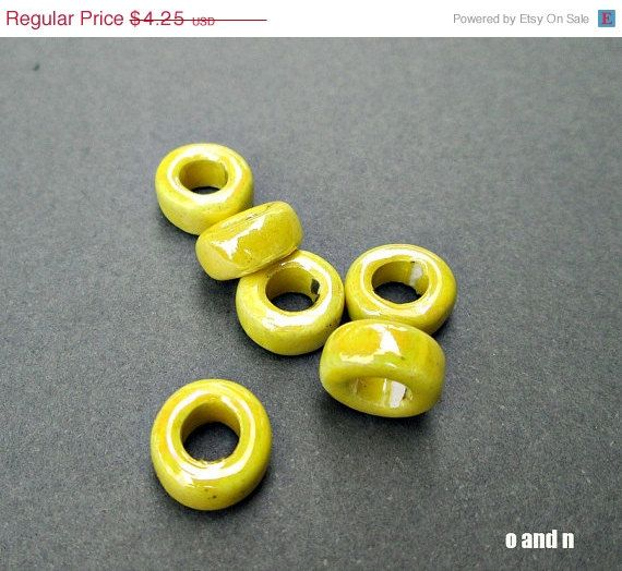 SALE Rondelle greek #ceramic #beads enamel yellow ceramic by OandN #jewelrysupplies #diyjewelry #bohojewelry