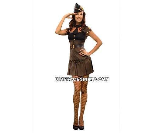 Tu mejor disfraz de sargenta de adulto para mujer bt 15281.es fantastico militar con su vestido marrón y tono negros en su parte del disfraz, para sentirte muy sexy en tus fiestas, despedidas o otras ocasiones que te puedas imaginar.