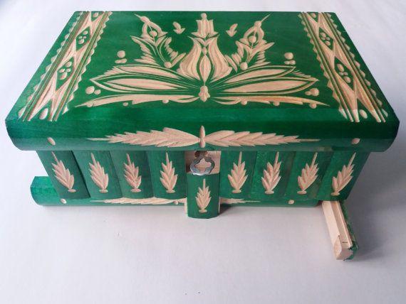 Nuevo gran, enorme verde madera puzzle caja, caja secreta, caja mágica, caja de almacenaje de la joyería, caja de madera, divertido regalo para chicos niños niñas chicos de regalo de San Valentín