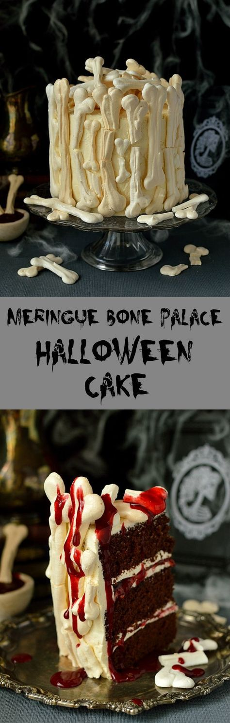 Spooky meringue bone palace Halloween cake - moist chocolate cake with vanilla swiss meringue buttercream, raspberry jam, meringue bones and berry coulis 'blood' on the side