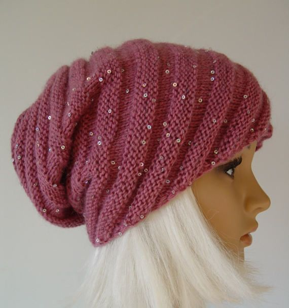 Knitted English Pink  Snail Hat, Beanie sparkly warm hat, sequins